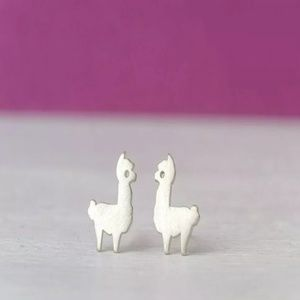 NEW Minimal Style Earrings Studs Llama Alpaca
